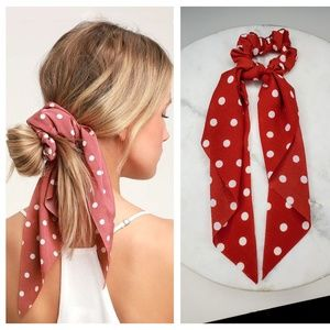 5 for $25 Red and White Hair Scarf Scrunchies